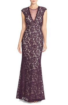 Betsy & Adam Illusion V-Neck Lace Trumpet Gown