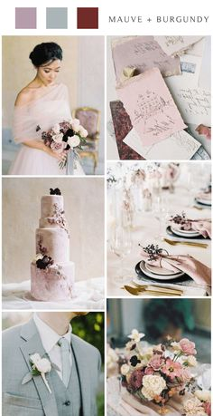 Mauve is probably one of my favorite shades of purple. It's a gorgeous, muted shade of light purple that has a slight tinge of grey. Lavender Wedding Colors, Dark Purple Wedding, Indigo Wedding, Gray Wedding Colors, Mauve Wedding, Summer Wedding Colors, Wedding Theme Inspiration, Wedding Trends, Wedding Ideas