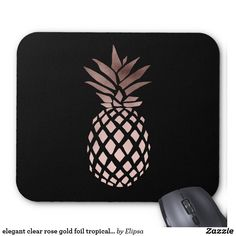 elegant clear rose gold foil tropical pineapple mouse pad