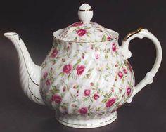 Lefton Rose Chintz Teapot & Lid
