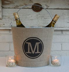 Monogram Burlap Bucket Pail for Wedding or Burlap Home Decor.....Modern meets Rustic.  Charming & Practical. Personalized just for you.