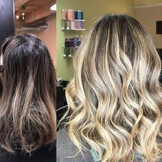 Take #transformationtuesday to a whole new level with #handpainted #haircolor! Take your clients from their #fall #brunette to #summer #blonde like @manase77 did using #balayagehighlights
