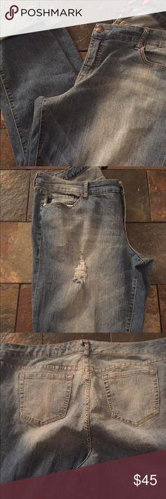 Medium Wash Destructive Boyfriend Jeans Medium Wash Destructive Boyfriend Jeans. I worn these jeans twice basically still new. torrid Jeans Boyfriend