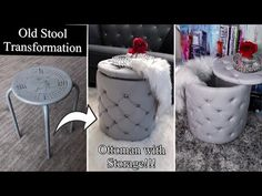 DIY OTTOMAN WITH STORAGE! I TURNED MY OLD STOOL INTO AN OTTOMAN! QUICK AND EASY! - YouTube Diy Crafts Easy At Home, Diy Arts And Crafts, Decor Crafts, Diy Storage Ottoman, Diy Ottoman, Diy Footstool, Diy Apartment Decor, Diy Headboards, Diy Home Improvement