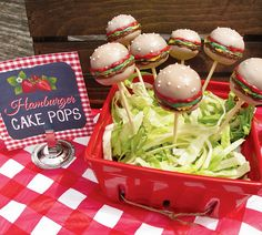 BERRY Cute Birthday Bash {Red Gingham BBQ}– Fantastic Strawberry and Hamburger Inspired Cake Pops