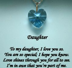 birthday/daughter/Christian   ... CRYSTAL PENDANTS NECKLACES GIFTS FOR DAUGHTERS POETRY DAUGHTER
