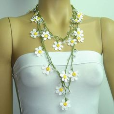 DAISY Necklace - White Daisy Crochet oya lace with white beads