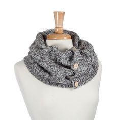Dark and light grey knitted tube scarf with wood buttons