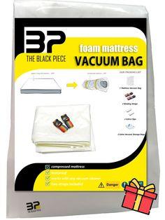 foam mattress vacuum bag with extra gift - 2 storage vacuum bags, now 14% DISCOUNT ! Vacuum Storage Bags, Vacuum Bags, Bag Storage, Full Mattress, Packing, Gifts, Black, Bag Packaging, Presents
