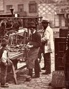 Victorian London.Taken by John Thompson, In 1876 he set out with writer Adolphe Smith and together the pair spoke to people and the shots were later published in magazine, Street Life in London. The pictures, now stored at the Bishopsgate Institute..