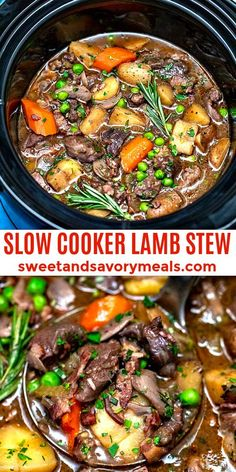 Slow Cooker Lamb Stew - Sweet and Savory Meals - Slow Cooker Lamb Stew is a classic comfort food made with lamb, potatoes, vegetables, and herbs, all cooked in a rich and thick broth. Lamb Stew Slow Cooker, Slow Cooker Stew Recipes, Beef Stew Crockpot Easy, Beef Recipes, Soup Recipes, Cooking Recipes, Healthy Recipes, Recipes Using Lamb, Crockpot Beefstew