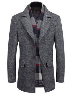 Lapel Buttoned Marled Coat with Scarf - GRAY 2XL