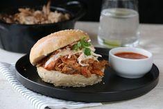 home-made hamburger buns Pulled Pork Burger, Cole Slaw, Hamburger Buns, Bbq Grill, Salmon Burgers, Bacon, Food And Drink, Homemade, Chicken