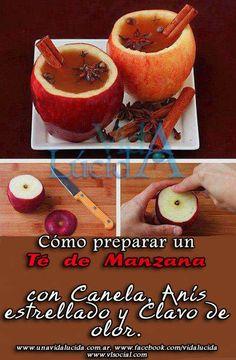 Cómo preparar un Té de Manzana con Canela, Anís estrellado y Clavo de olor. Exótico y energizante!  http://www.unavidalucida.com.ar/2012/09/como-preparar-un-te-de-manzana-con.html