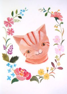 Orange Tabby Cat Illustration Print with Colorful Flowers by mikaart, $10.99