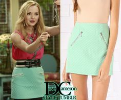 """Dove (as Liv) wore a similar skirt in Liv & Maddie """"Upcycle-A-Rooney"""" FLAUNT Quilted Zip Skirt in Mint Price: $28.90"""