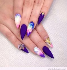 Purple manicure with details