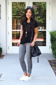 Black Twist Tee Casual Outfit - Side View