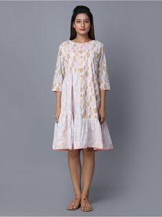 White Block Printed Cotton Dress Cotton Tunics, Cotton Dresses, Western Wear, Printed Cotton, Loom, Bag Accessories, Saree, How To Wear, Prints