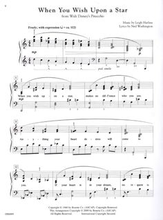 sheet music, when you wish upon a star