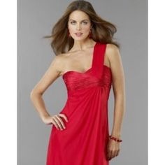One shoulder red formal dress Simple and classy! Tag says 3/4. Very flowy though so can fit anyone between a 2 and 6. Dave & Johnny Dresses