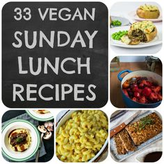 A collection of 33 of the best ideas for vegan Sunday Lunches and Roast Dinners, perfect for serving alongside roast potatoes, gravy and all the trimmings. Vegan and vegetarian. Vegan Sunday Lunch Recipes, Vegan Snacks, Vegan Food, Vegan Lunches, Veggie Recipes, Vegetarian Recipes, Cooking Recipes, Healthy Recipes, Vegan Roast Dinner