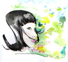 Title: Don't look back Original illustration by Arty Guava.   #illustration #watercolor #girl