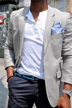 Shop this look for $208:  http://lookastic.com/men/looks/chinos-and-belt-and-blazer-and-henley-shirt-and-pocket-square/763  — Navy Chinos  — Blue Horizontal Striped Canvas Belt  — Grey Cotton Blazer  — White Henley Shirt  — Light Blue Silk Pocket Square