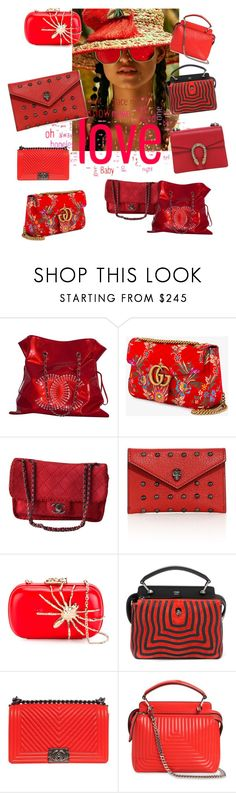"""She Loved her Red Bags"" by feralkind ❤ liked on Polyvore featuring Chanel, Gucci, Alexander McQueen, Corto Moltedo and Fendi"
