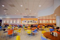 A cafeteria with a children's gallery at Children's Hospitals and Clinics of Minnesota, Minneapolis Campus. Photo: Lisa Slotsve.