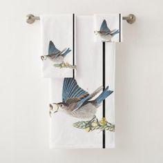 Audubon Bluebirds Birds Wildlife Bath Towel Set - animal gift ideas animals and pets diy customize