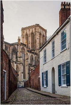 Chapter House Street, York, UK - up towards the north side of York Minster. Gray's Court and the Treasurer's House lie on the right hand side.