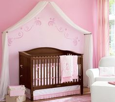 "DIY nursery canopy - goes from Crib to ""Big Bed"" easily"