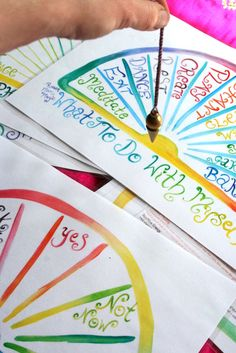 Pendulum Charts Set of 6 In Watercolour by ravenmoonmagic on Etsy, $20.00