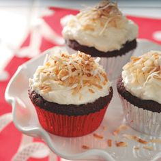 Red Velvet Cupcakes with Coconut Frosting Recipe from Taste of Home -- shared by Marie Rizzio of Interlochen, Michigan  #Valentines