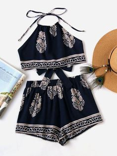 Shop Tie Back Halter Top And Shorts Co-Ord online. SheIn offers Tie Back Halter Top And Shorts Co-Ord & more to fit your fashionable needs. Cute Teen Outfits, Teenage Outfits, Cute Comfy Outfits, Teen Fashion Outfits, Cute Summer Outfits, Outfits For Teens, Trendy Outfits, Fashion Dresses, Shorts Co Ord