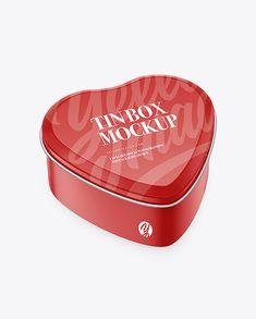Heart-Shape Glossy Tin Box Mockup