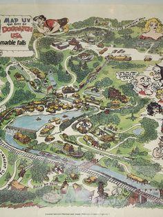 RARE 1973 DOGPATCH USA  ARKANSAS THEME PARK MAP POSTER CAPP SHMOO!