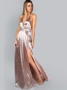 d3cef5ef114 Online shopping for Pink Plunge Neck Crisscross Back High Slit Wrap Cami  Dress from a great
