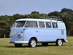 Print of VW Volkswagen Classic Camper van, 1965, Blue, light