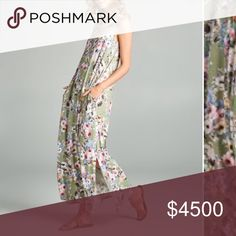 "Sage Floral Pocket Maxi Dress Brand new. Sage floral maxi dress. Pockets. Slits on both sides at end hem. Comfortable and lightweight. Stretchy. 95% rayon and 5% spandex. Measurement laying flat: bust: 19"" length: 55"" Love, Kuza Dresses Maxi"