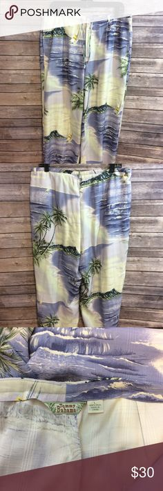 Tommy Bahama 100% silk relaxed beach wear pants L GUC Tommy Bahama 100% silk beach casual pants. Measurements waist 35, inseam 25, all measurements are approximate. Tommy Bahama tropical Hawaiian print two sidepocket relaxed beach or cruise wear. Tommy Bahama Pants