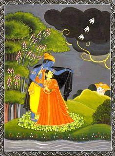 Radha krishna in rain kangra painting