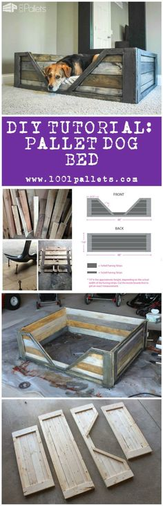 "Diy Tutorial: Pallet Dog Bed This tutorial by Dana Laureano from the blog ""Ruggy DIY"" in collaboration with 1001Pallets will describe how to make this dog basket out of 2 to 3 repurposed wooden pallets. 2 or 3 Pallets. 6 Hours. We evaluated this project as a medium difficulty project. Available as a PDF File. To download this tutorial, simply subscribe to our weekly..."