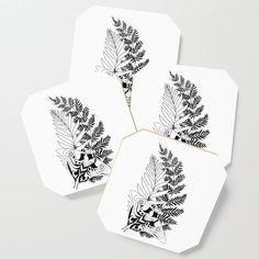 Evolution The Last Of Us 2 Tattoo Ellie Drink Coaster by Dielissart - Set of 4 White Leaf, Black And White, Vascular Plant, Tree Illustration, Drink Coasters, Satin Finish, Large Art, Botany, Creative Design