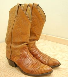 Vintage Lizard Skin JUSTIN Cowboy Boots Mens Size 8.5D w Boot Bag - Made in USA #Justin #CowboyWestern