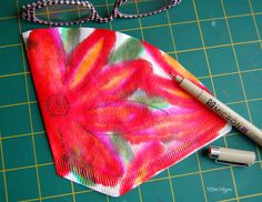 Water-based markers on a coffee filter, then misted with water & left to dry.  Drawn on with waterproof Micron. Fun-to-make collage fodder ~ by Lori Vliegen  #journal #collage