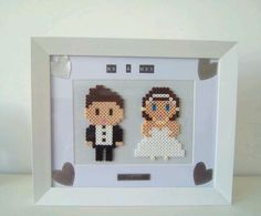 Hama bead bride and groom picture frame