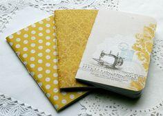 Set of Three Mini Notebooks  3 by 4.5 by handmadebabymae on Etsy, $6.00