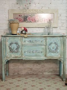Very pretty sideboard in pale verdigres distressed paint finish